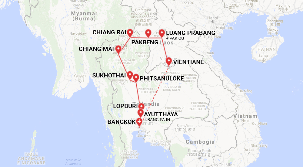 Tra Vietnam E Thailandia Cartina Geografica.Thailandia E Laos Viaggio Di Gruppo Con Accompagnatore
